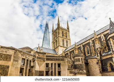 London. October 2018. A view of Southwark cathedral and the Shard in london