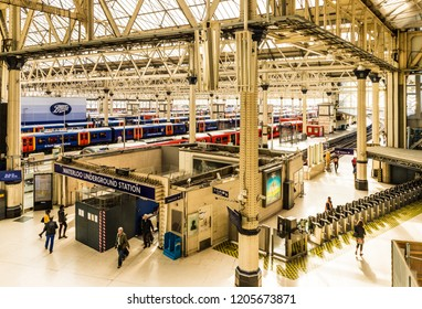 London October 2018. A view of Waterloo station in London.