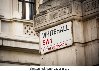 LONDON- OCTOBER, 2018: Whitehall street sign in SW1 City of Westminster, a famous London Street and location of many British government buildings