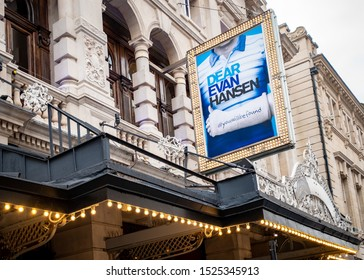 LONDON- OCTOBER, 2019:  Dear Evan Hansen theatre performance at the Noel Coward theatre in London's West End