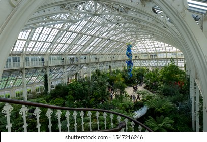 LONDON- OCTOBER, 2019: Royal Botanic Gardens, AKA Kew Gardens- inside the Temperate House, the largest of the famous Victorian glass houses