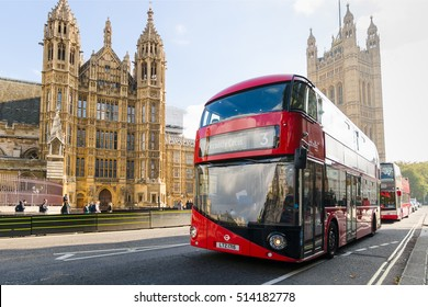 LONDON - OCTOBER  23:Houses of Parliament and  Red Double Decker Buses on OCTOBER  23, 2016 in London, England.