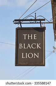 LONDON - OCTOBER 25, 2015. The hanging sign at The Black Lion, an ancient pub and restaurant located on the north bank of the River Thames between Hammersmith and Chiswick in west london, UK.