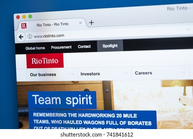 LONDON - OCTOBER 25TH 2017: The homepage of the official website for the Rio Tinto Group - the multinational metal and mining corporation, on 25th October 2017.