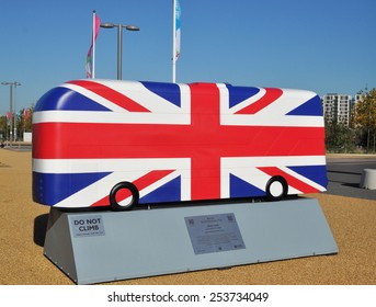LONDON - OCTOBER 27. London celebrates the importance of its buses with decorative bus models on October 27, 2014; this one painted with the Union Jack flag by Kristel Movahed at Stratford, London.
