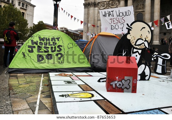 LONDON - OCTOBER 27: Since October 15, hundreds of Occupy LSX protesters have settled an encampment outside St Paul's cathedral on October 27, 2011 in London, England. LSX stands for London Stock Exchange.