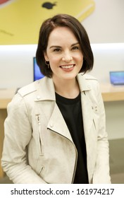 LONDON  OCTOBER 28: Michelle Dockery greeted fans after a Downton Abbey question and answer session in the Regent Street Apple Store, London
