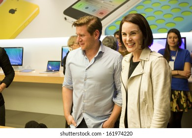 LONDON Â?Â? OCTOBER 28: Michelle Dockery and Alan Leech greet fans after a Downton Abbey question and answer session in the Regent Street Apple Store, London