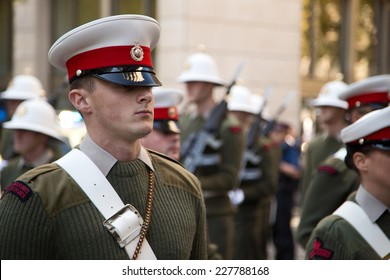 LONDON - OCTOBER 28TH: The royal marines on parade at the guildhall on October the 28th 2014 in London, England, UK. The events marks the royal marines 350th anniversary.