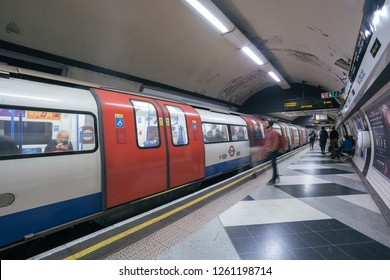LONDON - OCTOBER 3, 2018: Train arriving at platform on London Underground tube station
