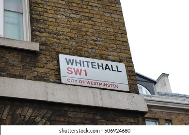 London, October 30th 2016 - A London Street sign marking Whitehall, the traditional home of the United Kingdom Government.