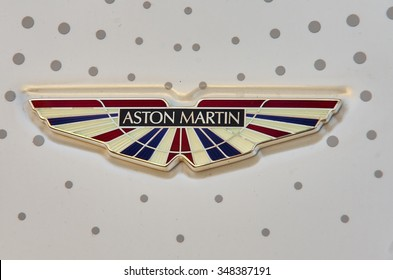 LONDON -October 31 : Regent street motor show -Aston Martin sign London 31 October.2015