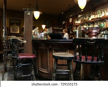 LONDON - OCTOBER 5, 2017: The bar at The Holly Bush Pub in Hampstead, London, UK.