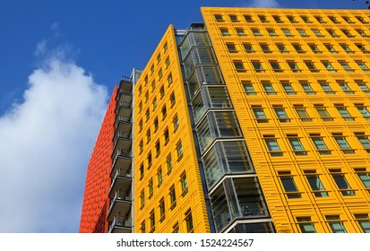 LONDON - OCTOBER 6, 2019. The colourful facades of the residential and commercial buildings designed by Renzo Piano at Central St Giles Court in the West End district of London, UK.