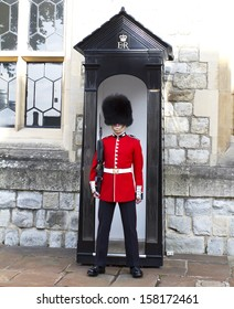 LONDON - OCTOBER 7 :Queen's Guard - Tower of London on October 7-10-2013. The Queen's Guard is the contingents of infantry and cavalry soldiers charged with guarding the official royal residences.