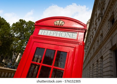 London old red Telephone box in England