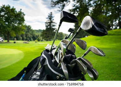 London, Ontario. August 13, 2017. Set of golf clubs in a bag on the course of Thames Valley Golf Club in London, Ontario