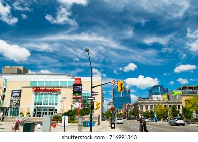 London, Ontario. August 13, 2017. View from the intersection of Dundas St and King St, near Covent Garden Market and the Budweiser Gardens in London, Ontario.