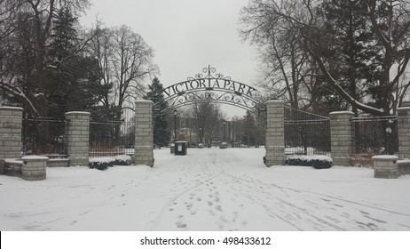 London Ontario, Canada - April 04, 2016:  Victoria Park 's entrance of London, Ontario snow-covered during wintertime