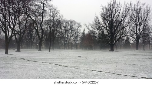 London Ontario, Canada - April 11, 2016: Victoria Park snow-covered with mist during wintertime as editorial