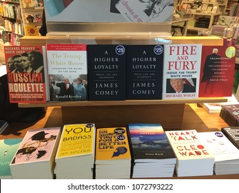 London Ontario Canada - April 19 2018: editorial photo of books by James comey, Michael wolf and Ronald Kessler exposing Donald trump. These books are on display at a book store