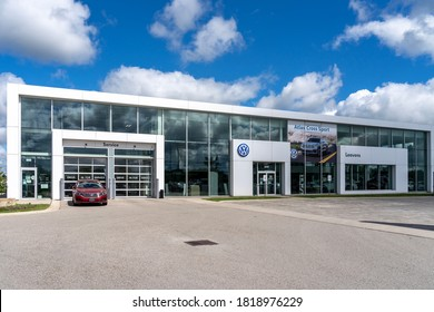 London, Ontario, Canada - August 30, 2020: A Volkswagen dealership in London, Ontario, Canada. Volkswagen is a car company from Germany.