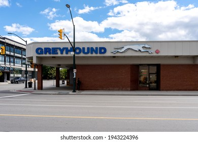 London, Ontario, Canada - August 30, 2020: Greyhound Station in London, Ontario, Canada. Greyhound Lines is an intercity bus common carrier serving more than 3,800 destinations across North America.