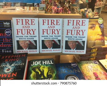 London Ontario Canada. January 10th 2018 editorial illustrative photo of the book fire and fury by Michael wolf being prominently featured on a book shelf. This book chronicles Donald trump