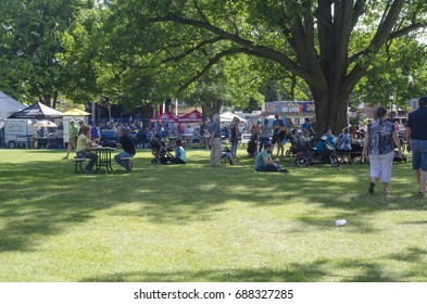 London Ontario, Canada - July 16, 2016: Unidentified people in the park (Victoria Park) during the country festival as editorial