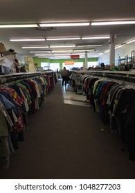 London Ontario Canada, March 17 2018: editorial photo of the inside of a goodwill retail thrift store. These stores are known for employing disabled and ex criminals. Goodwill is a charity.