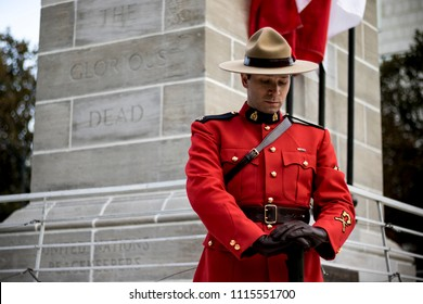 London, Ontario / Canada - Nov. 11, 2017: An RCMP officer standing on guard on Remembrance Day at Victoria Park