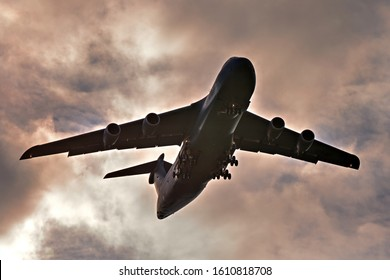 London, Ontario / Canada - Sep 12 2019:  Lockheed C-5 Galaxy as it approaches the London International Airport to participate in Airshow London, 2019.