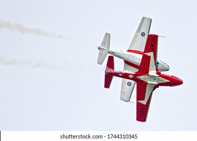 London, Ontario / Canada - September 07 2018:  The Royal Canadian Air Force Snowbirds, 431 Air Demonstration Squadron performing at Airshow London in September of 2018.