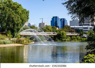 London, Ontario, Canada - September 21, 2019: Walter J. Blackburn Memorial Fountain in Mitchell A Baran Park, London, Canada.