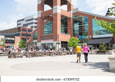 London, Ontario, Canada-June 3 2014: Covent Garden Market, an iconic landmark and gathering place in downtown London. locals and tourists flock here for fresh made food, produce and unique goods