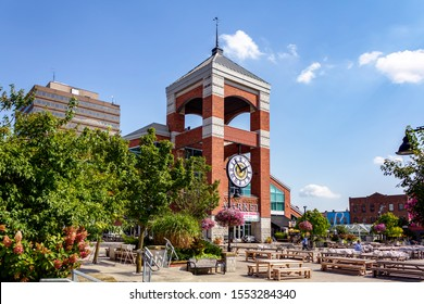 London, Ontario, Canada-September 21, 2019: Covent Garden Market, an iconic landmark and gathering place in downtown London. Locals and tourists come here for fresh made food, produce and unique goods