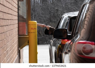 London, Ontario,Canada, April 24, 2019, Drive through windows is a way of life today