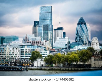 London. Panoramic View of London. England Famous Landmark. Beautiful buildings in London, capital of Great Britain.  Financial and business center.