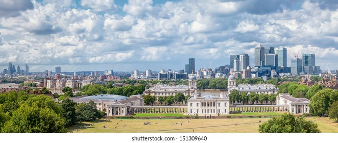 London, panoramic view from Greenwich Park with National Maritime Museum, Canary Wharf and City.