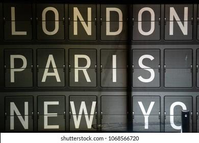 London Paris New york airport panel white on black