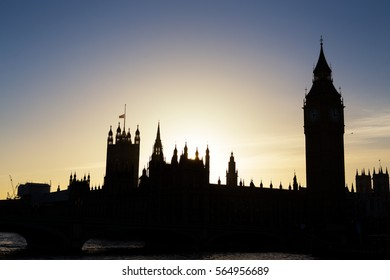 london parliament and big ben silhouette
