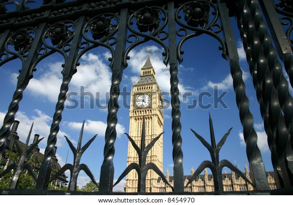 London Parliament and Big Ben view from behind the gates