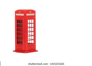 London phone booth isolated on white photo - Image