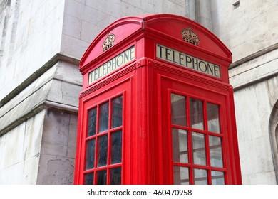 London phone box - red telephone kiosk in the UK.