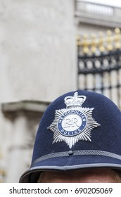 London Police Hat Badge, closeup vertical