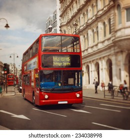 London red bus. Tilt shift lens.