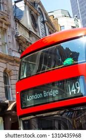 London Red Doubledecker bus close up
