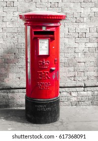 London red post box in London city. Red mail letter box