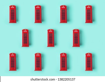 London red telephone booth background pattern. Creative minimal concept