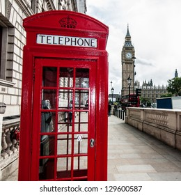 London Red Telephone Booth and Big Ben